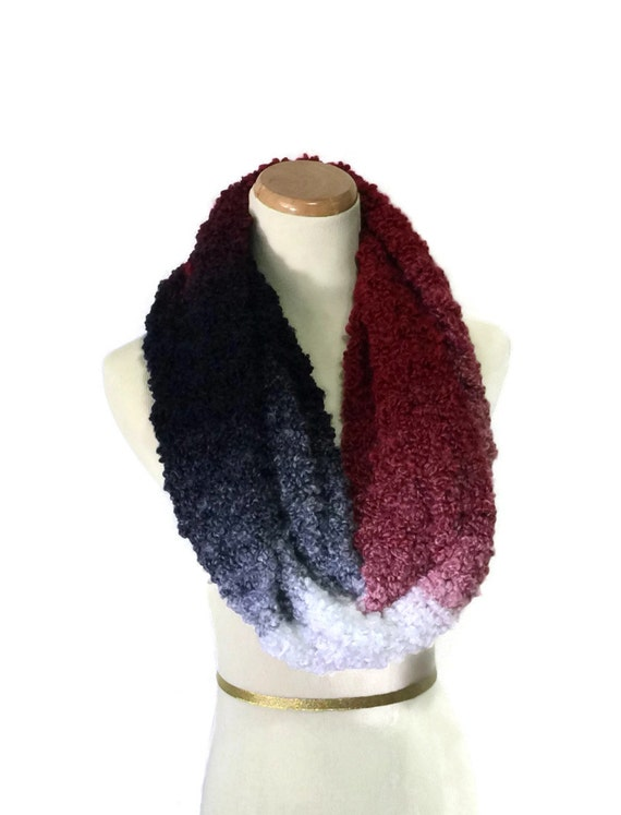 Knit Infinity Scarf, Red White Blue Scarf, Hand Knit Cowl, Gift For Her, Fiber Art, Loop Scarf, Snood, Fashion Scarf, Winter Scarf