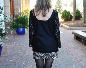 sale Nicole blouse - Scoop back blouse/ Black lace blouse/ Spring is in the air