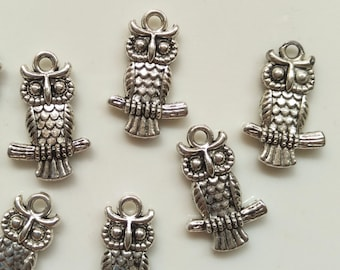 10 pcs 20mm Owl Charms - Double sides, Antique Silver, Owl Pendants, Metal Charms, Alloy Charms, Metal Pendants
