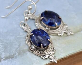 sterlings silver earrinigs, Victorian Dagger, vintage blue lapis glass jeweled earrings, antiqued silver dagger earrings