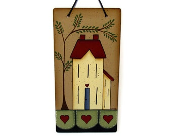 Primitive Saltbox House Penny Rug Sign, Handpainted Wood, Hand Painted Home Decor, Wall Art, Tole Decorative Painting, B7