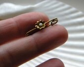 Antique 10k gold flower seed pearl tiny lingerie pin - vintage jewelry