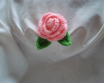 Large Rose With Leaves ~ Baby Pink ~ Applique ~ Mother's Day