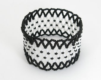 CHICKADEE Black and White Bracelet - Seed Bead Bracelet - Black and White Jewelry - Stretch Cuff Bracelet - Bead Woven Netted Bracelet