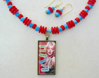 """SALE - 50% off, Marilyn Monroe, Well Behaved Women Rarely Make History, Antique Murano """"Pony"""" Beads, Shell Disks, Set by SandraDesigns"""
