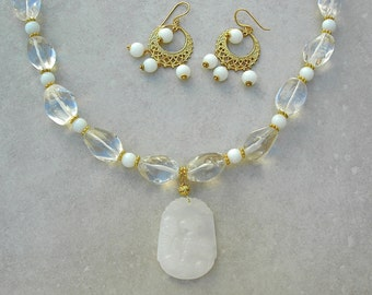 Year of the Ram/Sheep/Goat, Jade Zodiac Pendant, Quartz Crystal, Milky White Glass Beads, Fancy Gold Earrings, Necklace Set by SandraDesigns