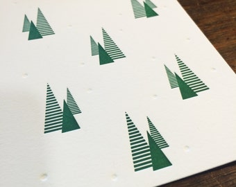 Holiday Letterpress cards, Winter Trees