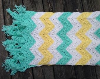Chevron Aqua Yellow White Afghan - Baby Blanket