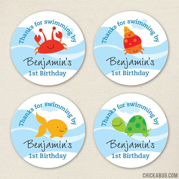 Under the Sea Party Favor Stickers - Sheet of 12 or 24