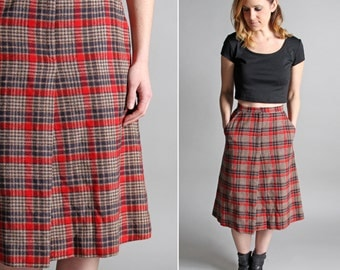 Vintage Studious A-line Skirt - Straight A-line Knee Length Red Tan Brown Fall Collegiate - Size Small S