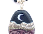 Purple Waters from Purple Rains: Full and Crescent Moon over Gentle Ocean Landscape Art Glass Handmade Lampwork Focal Bead Necklace w 925 St