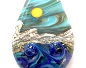 Between The Squalls : Ocean Wave 3D Lampwork Bead Handmade Sunny Day Mountain Landscape Focal