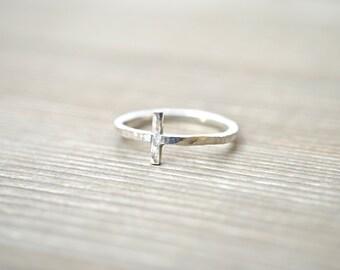 Sideways Cross Ring - Sterling Silver, 14K Gold Filled, or 14K Rose Gold Filled