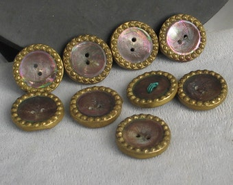Vintage 18mm  Brass and Abalone Button Set of 9