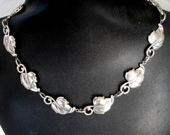 SALE Vintage Danecraft   Leaf Sterling Necklace