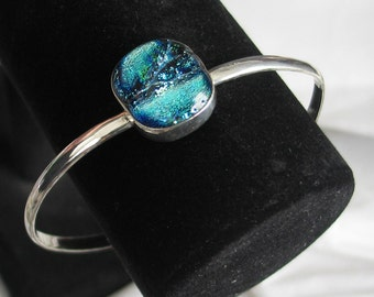 Dichroic Blue Glass Bracelet in Sterling Silver