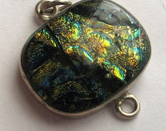 Blue Gold Green  and Black Dichroic  Glass and  Sterling Silver Pendant