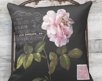 Pillow Cover Pink Rose Botanical Flower on Black #3