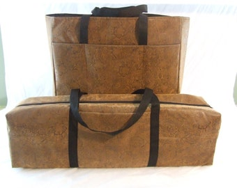Carrying Case for the Silhouette Cameo or Cricut Expression / Accessory Bag or Laptop Bag / Combo Set / Brown Faux Leather