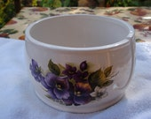 Bright Purple Pansies Handmade Ceramic Yarn Bowl / Yarn Holder