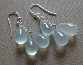 Aqua gemstone earrings, aqua earrings, aqua and silver earrings, aqua teardrop sterling silver earrings, aqua chalcedony cluster earrings
