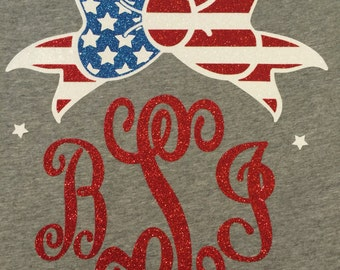 Momogrammed vinyl red white blue American tee, t-shirt, initials t-shirt, tank top choice of colors glitter vinyl  choice of size Small - xl