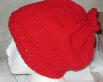 Sale Ski hat cap knitted red winter hat a little slouch