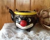 Black Sambo Antique Redware Tea Pot 1930's Kitchen Collectible Home Decor Art Deco
