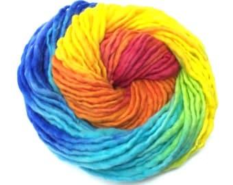 Bulky  handpainted rainbow yarn, handspun in merino wool - 50 yards and 1.65 ounces/47 grams