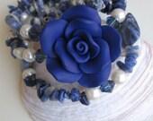 Flower Child Diva Memory Wire Bracelet - Royal Blue Polymer Clay Flower - Sodalite Gemstones - Denim Friendly - Ooak - Gift Item - Chic