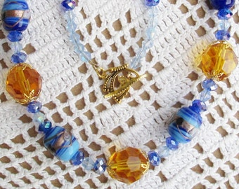Daisy May Diva Necklace - Versatile - Chic and Classy - Lampwork Beads - Czech Crystals - Gold Czech Glass Beads - Fun in the Sun - Cruise