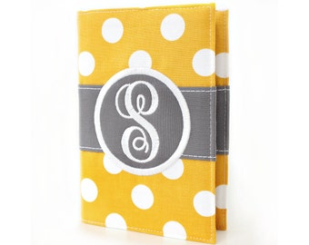 Mustard Big Dots Personalized Journal - You select, fabric, frame, and font - Monogrammed sketchbook - Personalized gift - Lined journal