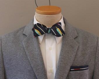 Men's Bow Tie - Tribal Print - Navy Blue Metallic Arrows - Navy Stripe Diamond Point Bowtie - Freestyle - Adjustable - In Stock