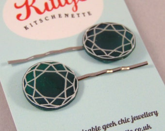Gemstone Hairslides - choose your own colour