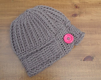 Crochet Hat, Crochet Cap, Stylish in Pewter Grey Adorned with a Pink Button, Pink Button Hat, Winter Hat Cap Beanie