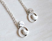 Best friend gift set of 2, 3 Bird Necklace with initials Personalized Necklace Bridesmaid jewelry Best Friend necklace set of 2, 3