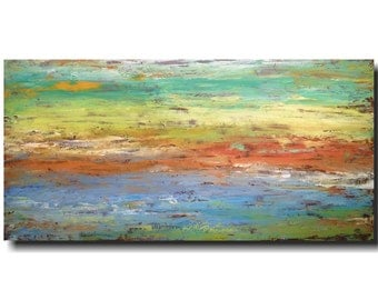 Original Large Abstract painting - 24 X 48  Artist JMJartstudio-  New Choices -Wall art - Orange painting-Oil painting