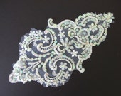 Vintage White Lace Applique - with Iridescent Sequins and Pearls - Recycled