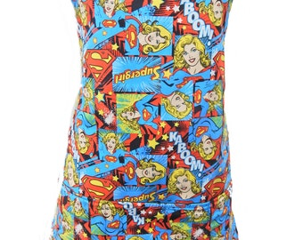 "Apron With  ""SUPERGIRL"" Pattern, Cotton, Reversible Apron, ""2 Aprons In 1"", Cotton, New"