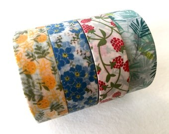 Japanese Washi Masking Tape Set of 4 - Beautiful 15mm Bright Flower/Fruit Tapes for wedding, baby shower, birthday party, party favor, deco