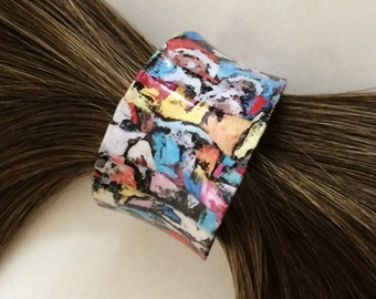 Multi Color Decoupage OOAK Ponytail Pony Tail Hair Cuff Holder / Gift for Her / Statement
