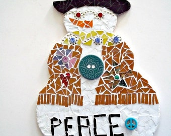 Mosaic Snowman Wall Hanging, Peace Snow Dude - 10 Inches