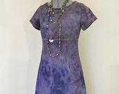 "Violet Small Cotton DRESS - Purple Plum Dyed Upcycled Liz Clairborne Denim Jumper Shift Dress - Adult Womens Sz 8 Petite Small (38"" Chest)"