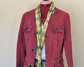 Red Medium Denim JACKET - Oxblood Brick Red Wine Dyed Upcycled A.M.I. Denim Military Blazer Jacket - Adult Women Size Medium (40 chest)