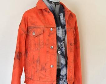Orange Mens Small Denim JACKET - Red Orange Dyed Upcycled Vintage 80s Gap Denim Trucker Jacket - Adult Mens Size Small (46 chest)