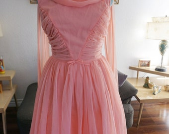 Amazing 1950s chiffon dress L