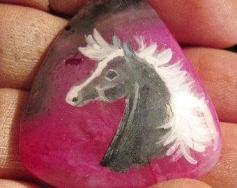 Hand painted Horse gemstone pendant gray on fuchsia