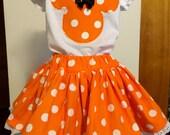 Minnie Mouse's orange girls' twirly skirt & shirt set, perfect for Disney, Disney Cruise, photos, parties