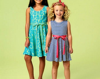 Girls' Pullover Dress Pattern, Little Girls' Knit Dress Pattern,  McCall's Sewing Pattern 6915