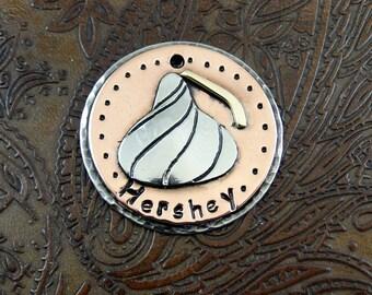 Custom Chocolate Kiss Dog ID Tag - Pet ID Tag - Handmade ID Tag for Dog Collar